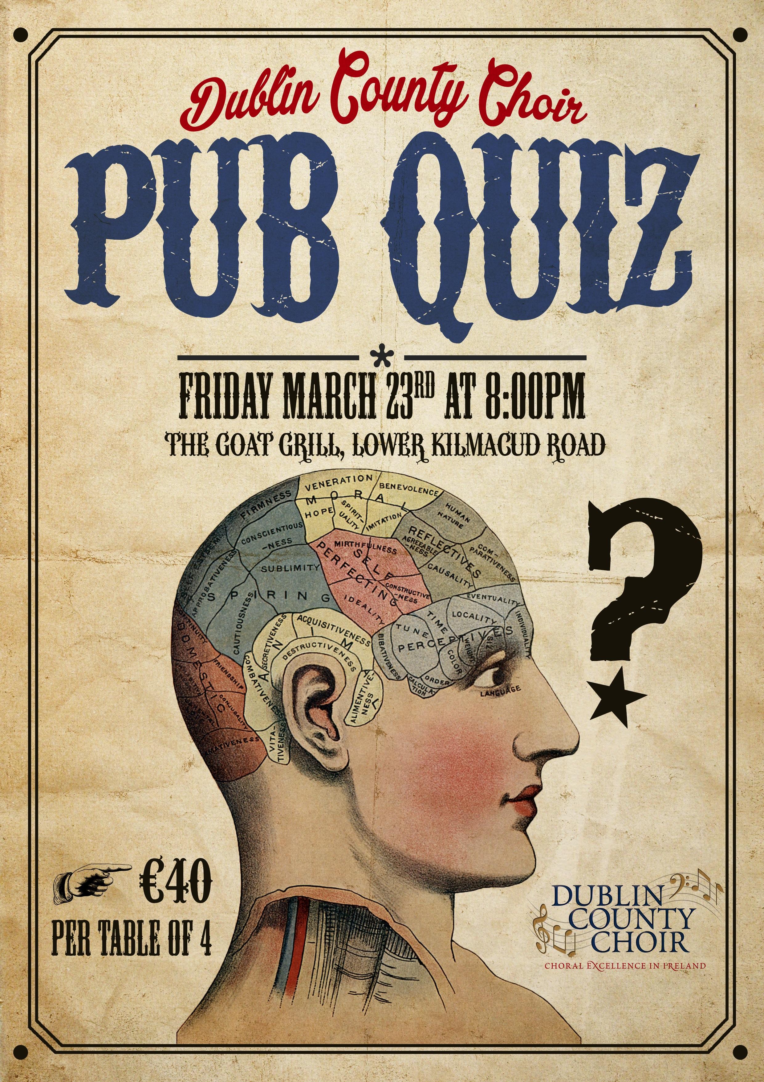 Our Annual Pub Quiz - Friday, March 23rd - Dublin County Choir
